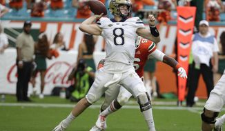 Pittsburgh quarterback Kenny Pickett passes (8) during the first half of an NCAA college football game against Miami, Saturday, Nov. 24, 2018, in Miami Gardens, Fla. (AP Photo/Lynne Sladky)