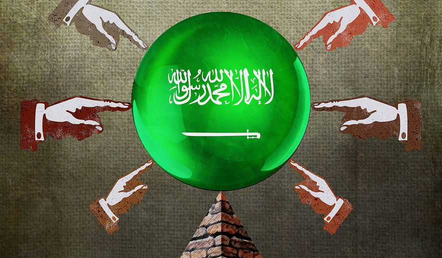 Saudi Finger Pointing Illustration by Greg Groesch/The Washington Times