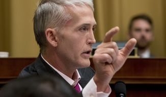 Rep. Trey Gowdy, R-S.C., questions Deputy Attorney General Rod Rosenstein and FBI Director Christopher Wray as they appear before a House Judiciary Committee hearing on Capitol Hill in Washington, Thursday, June 28, 2018, on Justice Department and FBI actions around the 2016 presidential election. (AP Photo/Andrew Harnik)