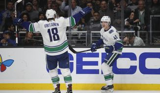 Vancouver Canucks' Elias Pettersson, right, of Sweden, celebrates his goal with Jake Virtanen during the third period of an NHL hockey game against the Los Angeles Kings, Saturday, Nov. 24, 2018, in Los Angeles. (AP Photo/Jae C. Hong)