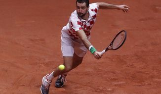 Croatia's Marin Cilic returns the ball to France's Lucas Pouille during the Davis Cup final between France and Croatia Sunday, Nov. 25, 2018 in Lille, northern France. (AP Photo/Thibault Camus)