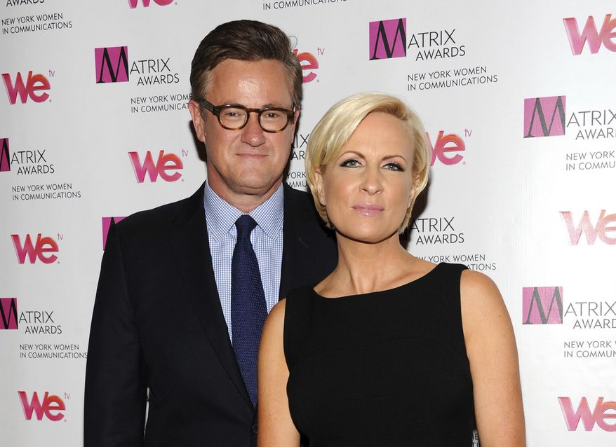 "In this April 22, 2013, file photo, MSNBC's ""Morning Joe"" co-hosts Joe Scarborough and Mika Brzezinski, right, attend the 2013 Matrix New York Women in Communications Awards at the Waldorf-Astoria Hotel in New York. (Photo by Evan Agostini/Invision/AP, File)"