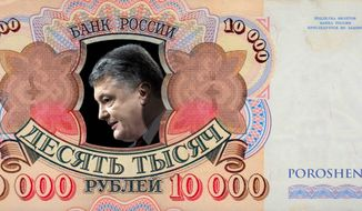 Illustration on Ukrainian president Poroshenko's financial connections to Moscow by Alexander Hunter/The Washington Times