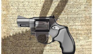 Illustration on Democrat threats to Second Amendment rights by Alexander Hunter/The Washington Times