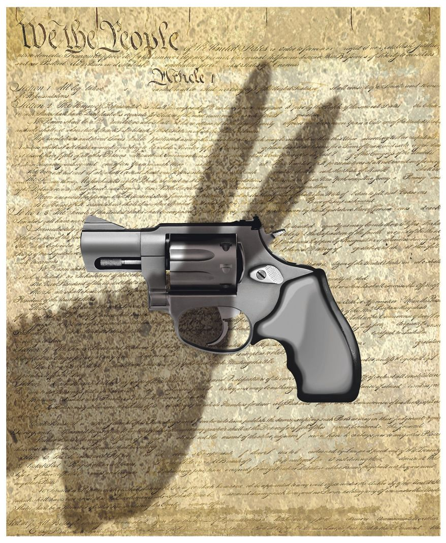Illustration on Democrat threats to Second Amendment rights by Alexander Hunter/The Washington Times