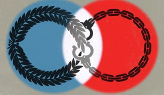 Illustration on the democracy myth by Linas Garsys/The Washington Times
