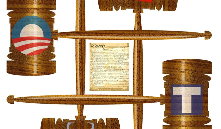 Illustration on the existence of biased judges by Alexander Hunter/The Washington Times