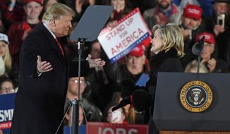 """""""I'm here to ask the people of Mississippi to send Cindy Hyde-Smith back so we can make America great again,"""" said President Trump during the rally in Tupelo, Mississippi. """"Don't empower the radical Democrats to return us to the failure of the past."""" (Associated Press)"""