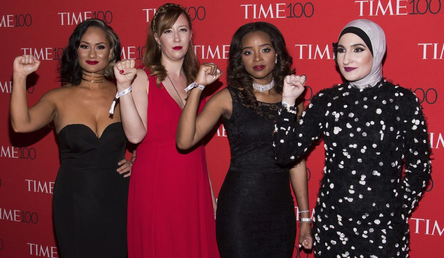Carmen Perez, left, Bob Bland, Tamika D. Mallory and Linda Sarsour attend the TIME 100 Gala, celebrating the 100 most influential people in the world, at Frederick P. Rose Hall, Jazz at Lincoln Center on Tuesday, April 25, 2017, in New York. (Photo by Charles Sykes/Invision/AP)