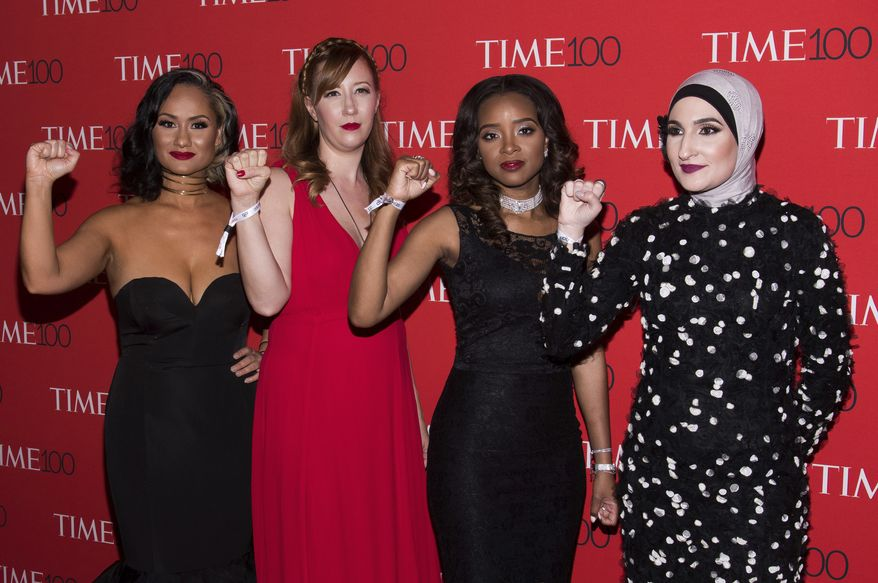 Carmen Perez, left, Bob Bland, Tamika D. Mallory and Linda Sarsour attend the TIME 100 Gala, celebrating the 100 most influential people in the world, at Frederick P. Rose Hall, Jazz at Lincoln Center on Tuesday, April 25, 2017, in New York. (Photo by Charles Sykes/Invision/AP) ** FILE **