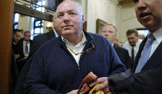 FILE - In this Feb. 24, 2016, file photo, Michael Skakel leaves the state Supreme Court after his hearing in Hartford, Conn. The Connecticut Supreme Court in May 2018 vacated Skakel's conviction in the bludgeoning death of Martha Moxley in their wealthy Greenwich neighborhood in 1975, when they were teenagers. Eleven states filed a friend-of-the-court brief on Monday, Sept. 10 asking the U.S. Supreme Court to hear Connecticut's appeal and reinstate Skakel's conviction.  (AP Photo/Jessica Hill, File)
