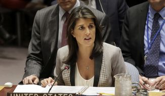 Then-United States Ambassador to the United Nations Nikki Haley speaks during a security council meeting about the escalating tensions between the Ukraine and Russia at United Nations headquarters, Monday, Nov. 26, 2018. (AP Photo/Seth Wenig)