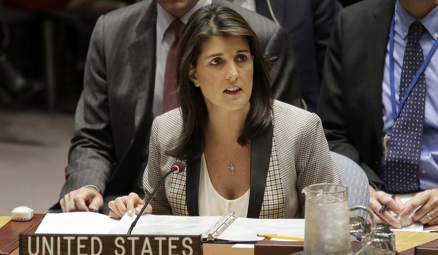 United States Ambassador to the United Nations Nikki Haley speaks during a security council meeting about the escalating tensions between the Ukraine and Russia at United Nations headquarters, Monday, Nov. 26, 2018. Russian border guards opened fire on three Ukrainian vessels in the Kerch Strait near the Russia-occupied Crimean peninsula, raising the prospect of a full-scale military confrontation. The incident comes on the back of a four-and-a-half year long proxy conflict in eastern Ukraine. (AP Photo/Seth Wenig)