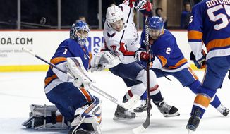 New York Islanders goaltender Thomas Greiss (1) watches a shot by Washington Capitals center Travis Boyd (72) go wide of the net in the first period of an NHL hockey game Monday, Nov. 26, 2018, in New York. (AP Photo/Adam Hunger)