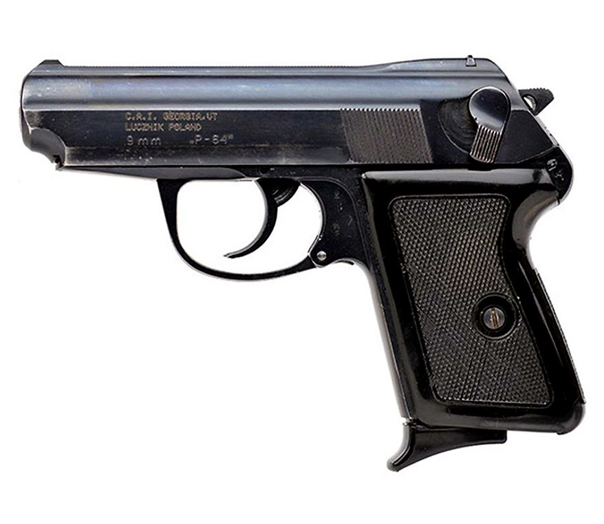 The P64 was designed in the 1950's by the Polish military to replace the Tokarev as the primary sidearm. This compact handgun holds 6 rounds of 9mm Makarov in the magazine, and the blowback action is extremely reliable. Features a traditional double action trigger mechanism. $200