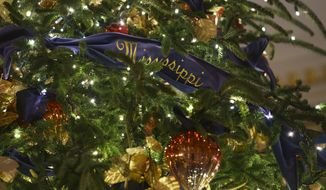 """A detail of the official White House Christmas tree is seen in the Blue Room during the 2018 Christmas preview at the White House in Washington, Monday, Nov. 26, 2018. The tree measures 18 feet tall and is dressed in over 500 feet of blue velvet ribbon embroidered in gold with each State and territory.  Christmas has arrived at the White House for 2018 as first lady Melania Trump unveiled the holiday decor. She designed the decor, which features a theme of """"American Treasures."""" (AP Photo/Carolyn Kaster)"""