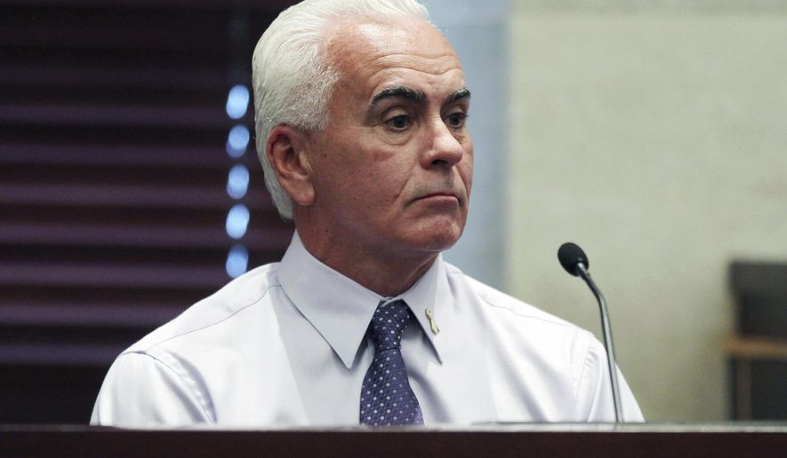 FILE - In this June 30, 2011, file photo, George Anthony testifies during the murder trial of his daughter Casey Anthony at the Orange County Courthouse in Orlando, Fla. Florida authorities say George Anthony was hospitalized after a car accident Saturday, Nov. 24, 2018, while traveling on Interstate 4 between Daytona Beach and Orlando. (Red Huber/Orlando Sentinel via AP, Pool, File)