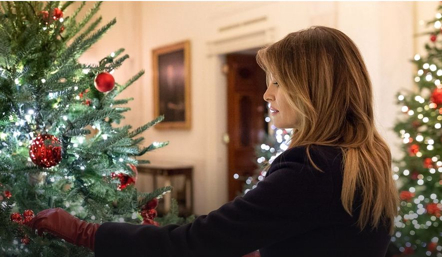 First Lady Melania Trump has emphasized American patriotism as a theme for the White House  Christmas decorations this year. (White House)