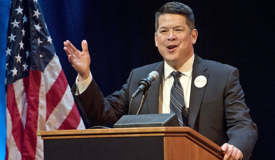 In this Jan. 5, 2018 photo, T.J. Cox, a candidate for the 21st U.S. Congressional District, speaks at a Democratic Party debate at the Gallo Center for the Arts in Modesto. Cox has edged ahead of Republican David Valadao in a U.S. House race in California's farm belt, where votes continue to be counted. Cox has trailed since election night but pulled ahead by 438 votes Monday, Nov. 26, 2018, according to tallies in the 21st District that cuts through four Central Valley counties. The Associated Press had declared Valadao the winner, but votes that have been counted since Nov. 6 narrowed the race and the AP retracted its race call on Monday. (Andy Alfaro/Modesto Bee via AP)