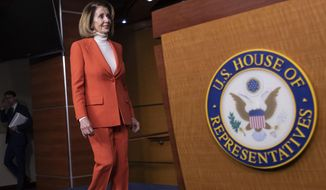 In this Nov. 15, 2018, [jpyp. House Minority Leader Nancy Pelosi, D-Calif., arrives for a news conference as some disgruntled Democrats are pledging to oppose her ascent to the speakership in the new 116th Congress, at the Capitol in Washington. Her rise to speaker of the House from 2007 to 2011 made her the highest-ranking female politician in U.S. history. (AP Photo/J. Scott Applewhite)
