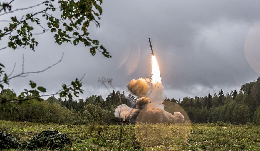 This undated file photo provided Tuesday, Sept. 19, 2017, by Russian Defense Ministry official website shows a Russian Iskander-K missile launched during a military exercise at a training ground at the Luzhsky Range, near St. Petersburg, Russia. (Russian Defense Ministry Press Service via AP/File)