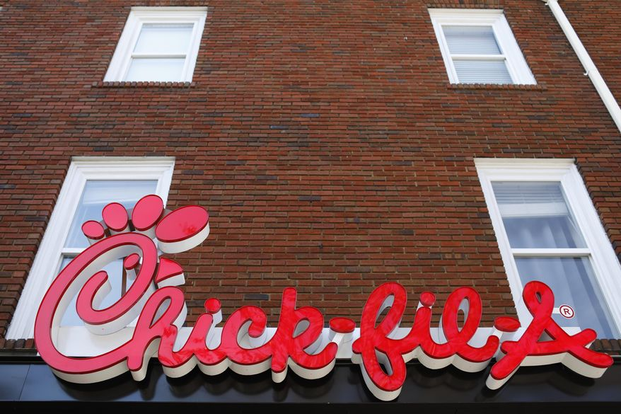 A Chick-fil-A sign at a downtown, Athens, Georgia, location is shown in this Oct. 30, 2018 file photo. (Joshua L. Jones/Athens Banner-Herald via AP) ** FILE **