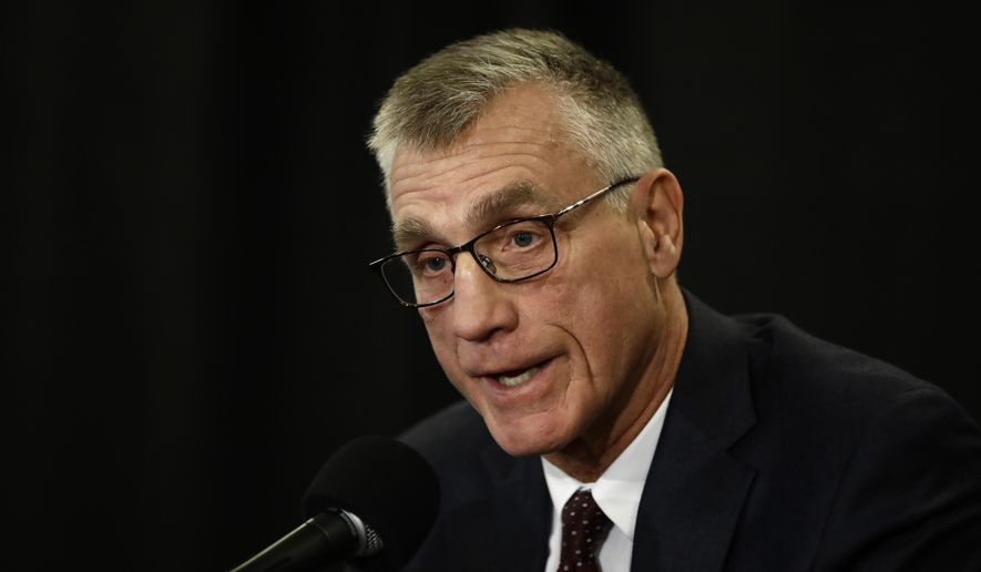 Philadelphia Flyers President Paul Holmgren speaks with members of the media during a news conference Tuesday, Nov. 27, 2018, in Philadelphia, the day after the NHL hockey club fired general manager Ron Hextall. (AP Photo/Matt Rourke)