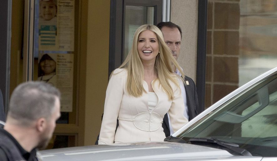 Ivanka Trump leaves Wilder Elementary School in Wilder, Idaho, Tuesday, Nov. 27, 2018. Ivanka Trump, President Donald Trump's daughter and White House adviser, and Apple CEO Tim Cook visited the heavily Hispanic Idaho school district Tuesday to trumpet her workforce development initiative promoting science, technology, engineering and math, White House officials said.  (AP Photo/Otto Kitsinger)
