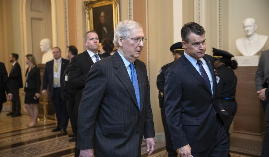 Senate Majority Leader Mitch McConnell, R-Ky., joined by Sen. Todd Young, R-Ind., right, walk to a meeting with fellow Republicans at the Capitol in Washington, Tuesday, Nov. 27, 2018. (AP Photo/J. Scott Applewhite)