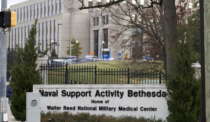 Walter Reed National Military Medical Center is seen on Tuesday, Nov. 27, 2018, in Bethesda Md. (AP Photo/Jose Luis Magana) ** FILE **
