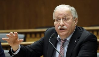 FILE--In this Jan. 4, 2018, file photo, Washington House Speaker Frank Chopp, D-Seattle speaks during the leadership panel of the Associated Press' annual Legislative Preview at the Capitol in Olympia, Wash. Chopp announced Tuesday, Nov. 27, 2018, that he will step down from his leadership post next spring, but will continue to serve in the chamber. (AP Photo/Ted S. Warren, file)