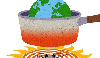 Illustration on climate-change predictions by Greg Groesch/The Washington Times