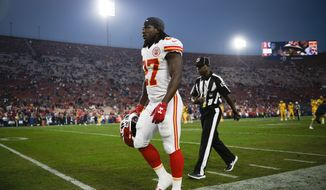 Kansas City Chiefs running back Kareem Hunt walks off the field prior to an NFL football game against the Los Angeles Rams Monday, Nov. 19, 2018, in Los Angeles. (AP Photo/Kelvin Kuo) ** FILE **
