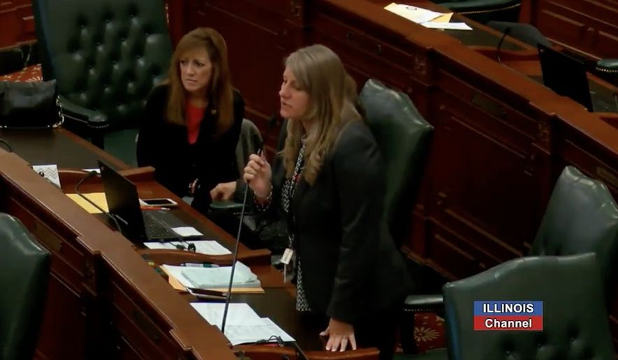 Illinois State Rep. Stephanie Kifowit, a Democrat, is facing calls to resign over comments she made Tuesday that appeared to wish Legionnaires' disease on a Republican colleague's family members. (Twitter/@IllinoisChannel)