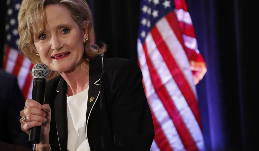 Republican U.S. Sen. Cindy Hyde-Smith speaks to her supporters as she celebrates her runoff win over Democrat Mike Espy in Jackson, Miss., Tuesday, Nov. 27, 2018. Hyde-Smith will now serve the final two years of retired Republican Sen. Thad Cochran's six year term. (AP Photo/Rogelio V. Solis)