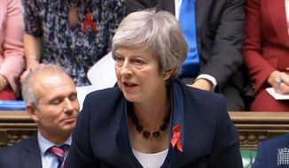 Prime Minister Theresa May speaks during Prime Minister's Questions in the House of Commons, in London, Wednesday Nov. 28, 2018. Theresa May is battling to persuade skeptical lawmakers to back the Brexit deal before Parliament votes Dec. 11 to accept or reject it. (House of Commons/PA via AP)