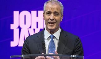 In this Aug. 28, 2018, file photo, candidate U.S. Rep. Sean Patrick Maloney stands at the podium during a debate by the Democratic candidates for New York State Attorney General at John Jay College of Criminal Justice in New York.  (Holly Pickett/The New York Times via AP, Pool, File) ** FILE **