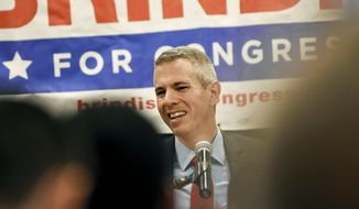 FILE - In this Nov. 6, 2018 file photo, Anthony Brindisi speaks to supporters on election night at the Delta Hotel in Utica, N.Y. More than three weeks after Election Day, the upstate congressional race was finally settled on Wednesday, Nov. 28 with Brindisi, a Democratic Assemblyman, winning the election against Republican Congresswoman Claudia Tenney. (AP Photo/Heather Ainsworth, File)