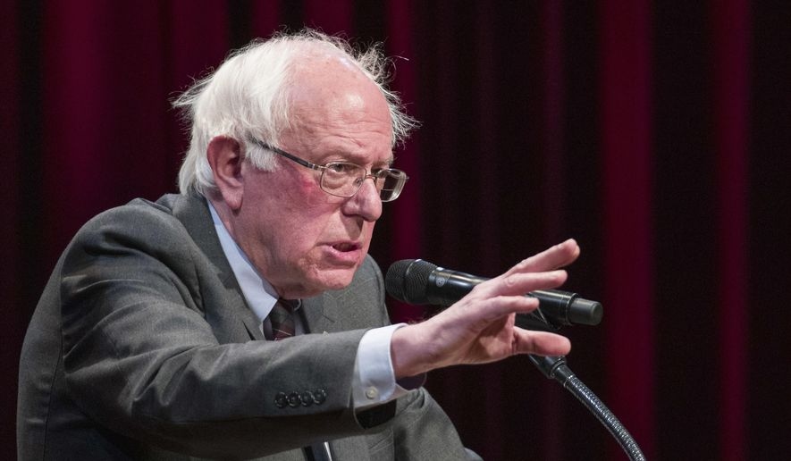 Sen. Bernie Sanders, I-Vt., speaks about his new book, 'Where We Go From Here: Two Years in the Resistance', at a George Washington University/Politics and Prose event, Tuesday, Nov. 27, 2018, in Washington. (AP Photo/Alex Brandon) ** FILE **