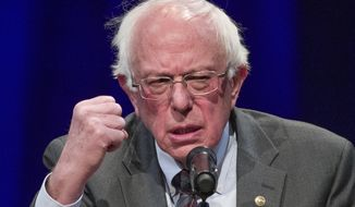 Sen. Bernie Sanders, I-Vt., speaks about his new book, 'Where We Go From Here: Two Years in the Resistance', at a George Washington University/Politics and Prose event, Tuesday, Nov. 27, 2018, in Washington. (AP Photo/Alex Brandon)