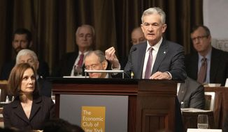 Federal Reserve Board Chairman Jerome Powell speaks at the Economic Club of New York, Wednesday, Nov. 28, 2018, in New York. (AP Photo/Mark Lennihan)