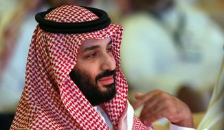 FILE - In this Oct. 24, 2018, file photo, Saudi Crown Prince Mohammed bin Salman attends the second day of the Future Investment Initiative conference, in Riyadh, Saudi Arabia. Prince Mohammed will attend the upcoming Group of 20 summit in Buenos Aires. (AP Photo/Amr Nabil, File)