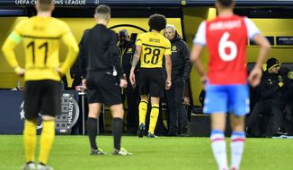 Dortmund's Axel Witsel leaves the field during the Champions League group A soccer match between Borussia Dortmund and Club Brugge in Dortmund, Germany, Wednesday, Nov. 28, 2018. (AP Photo/Martin Meissner)