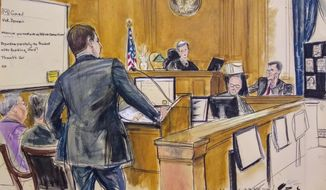 "In this courtroom sketch, Assistant U.S. Attorney Daniel Richenthal, center left, questions former Serbian foreign minister and former President of the United Nations General Assembly, Vuk Jeremic on the witness stand, far right, during a federal bribery trial of prominent Hong Kong businessman Chi Ping Patrick Ho, in New York on Tuesday, Nov. 27, 2018. Seated at far left is Ho, in purple clothing. Jeremic said Tuesday that he never witnessed ""anything improper"" on the part of Ho on trial in New York on charges of bribing government leaders in two African nations to land lucrative business deals for a Chinese oil and gas conglomerate. (Elizabeth Williams via AP)"