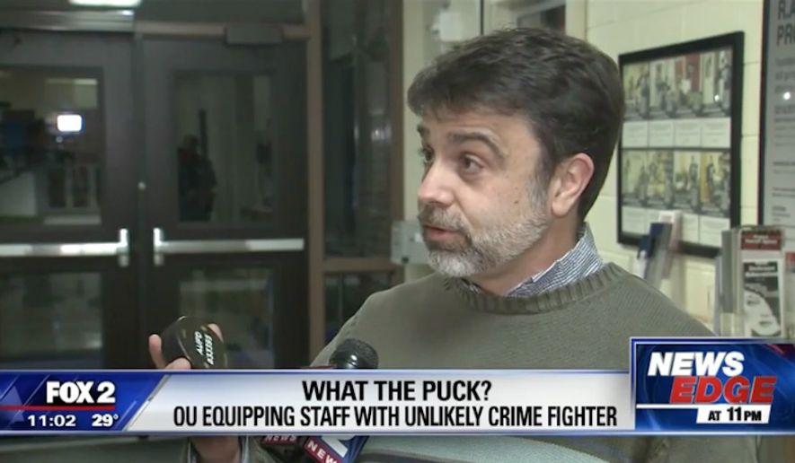 Faculty and students at Oakland University in Michigan have started arming themselves with hockey pucks for self-defense against active shooters. (WJBK)