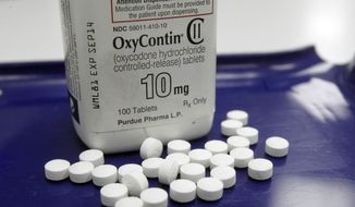 In this Feb. 19, 2013, file photo, OxyContin pills are arranged for a photo at a pharmacy in Montpelier, Vt. (AP Photo/Toby Talbot, File)