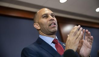 Rep. Hakeem Jeffries, D-N.Y., meets with reporters after being elected chairman of the House Democratic Caucus for the 116th Congress, at the Capitol in Washington, Wednesday, Nov. 28, 2018. Jeffries defeated Rep. Barbara Lee, D-Calif., both prominent members of the Congressional Black Caucus. (AP Photo/J. Scott Applewhite) ** FILE* *