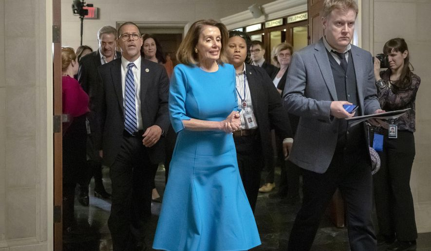 House Democratic Leader Nancy Pelosi of California heads into the Democratic Caucus leadership elections unopposed following an effort by a contingent working against her becoming the speaker of the House when her party takes the majority in the new Congress in January, at the Capitol in Washington, Wednesday, Nov. 28, 2018. (AP Photo/J. Scott Applewhite)