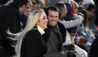 Donald Trump Jr. and Tiffany Trump arrive before President Donald Trump and first lady Melania Trump light the National Christmas Tree on the Ellipse near the White House in Washington, Wednesday, Nov. 28, 2018. (AP Photo/Andrew Harnik) ** FILE **