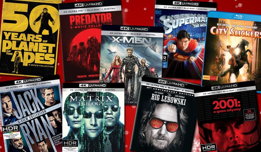 "Gift ideas for movie watchers include ""2001: A Space Odyssey,"" ""50 Years of Planet of the Apes: 9-movie Collection,"" ""The Big Lebowski: 20th Anniversary Limited Edition,"" ""X-Men Trilogy,"" ""Jack Ryan: 5 Film Collection,"" ""The Matrix Trilogy,"" ""Superman: The Movie,"" ""Predator: 3 Movie Collection "" and ""City Slickers: Collector's Edition."""